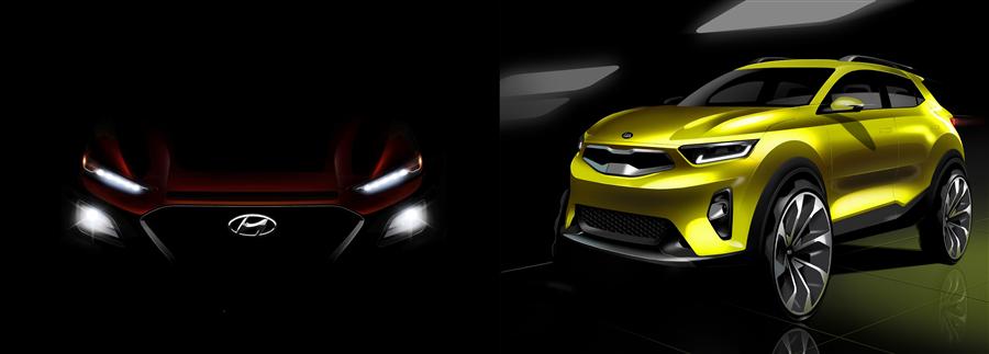 현대차 소형 SUV '코나' 티저 이미지(왼쪽)과 기아차 '스토닉'. 사진/각 사
